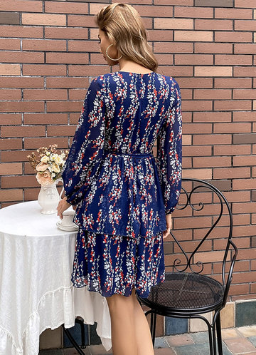 back_Missord Ditsy Floral Belted Layered Hem Dress