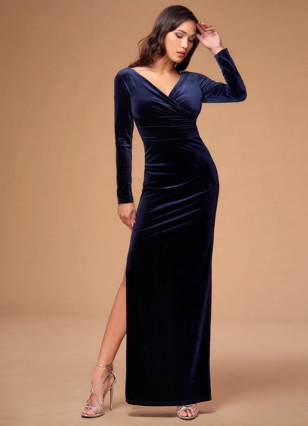 The Moon Song Navy,blue Velvet Maxi Dress Dress