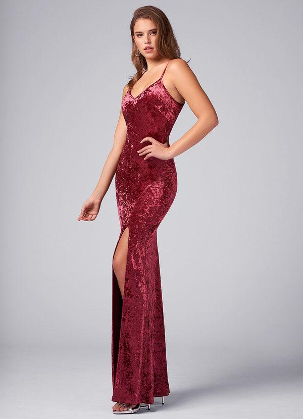 Uitgelezene Because Of You Wine Red Velvet Maxi Dress Dresses   Azazie DC-63