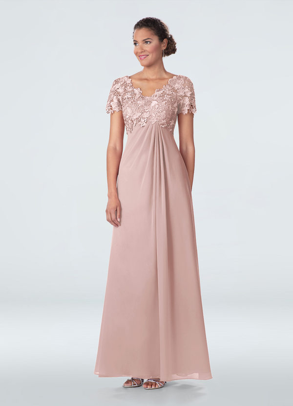 Details about  /Azazie Angelou MBS Dusty Blue Mother Of The Bride Dress Short Sleeve