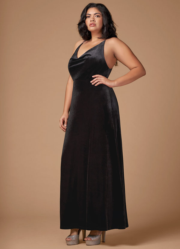Blush Mark On Fleek Black Velvet Maxi Dress Dresses | Azazie