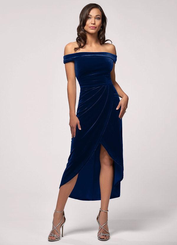 Sweet Desire Navy Blue Velvet Midi Dress Dresses   Azazie
