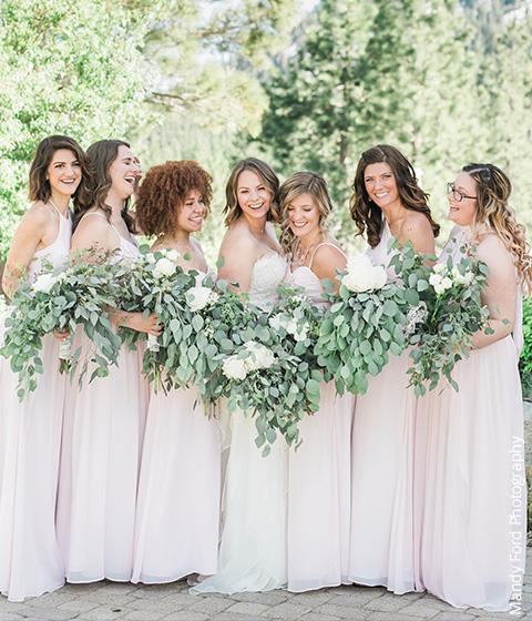 Blushing Pink Bridesmaid Dresses